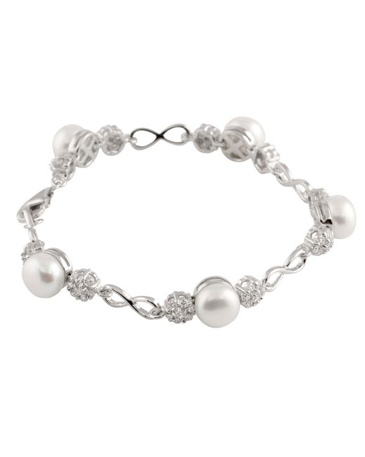 Splendid - Metallic Bracelet With White Freshwater Pearls And Cz - Lyst