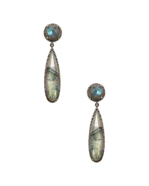 Adornia - Gray Labradorite And Champagne Diamond Gillian Earrings - Lyst