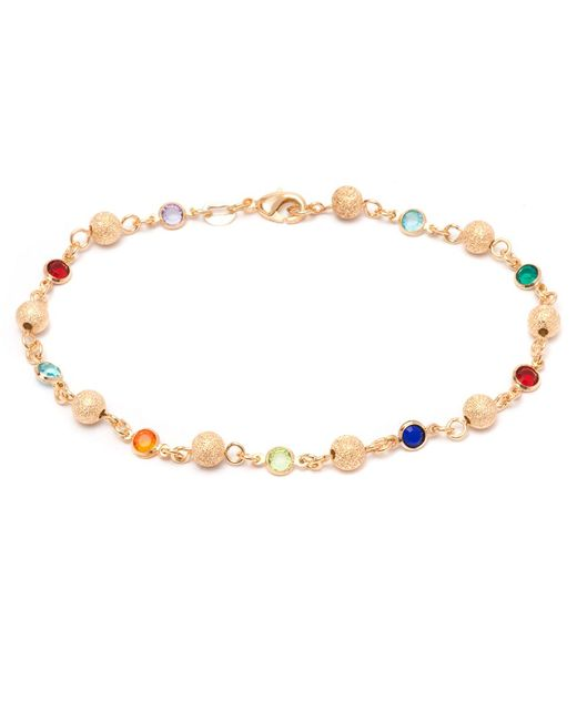 Peermont - Metallic Gold & Multi Color Crystal Ball Anklet - Lyst