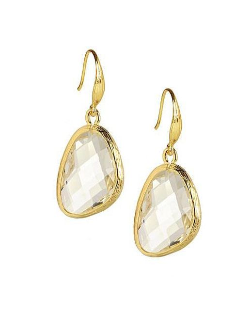 Saachi - Metallic Clear Quartz Gold Earring - Lyst
