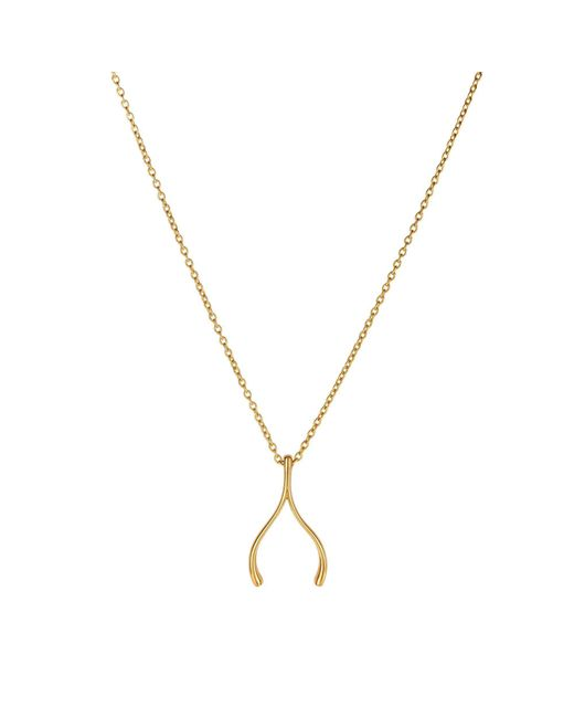 "JewelryAffairs - Metallic 14k Yellow Gold Wishbone Charm Chain Necklace, 17"" - Lyst"
