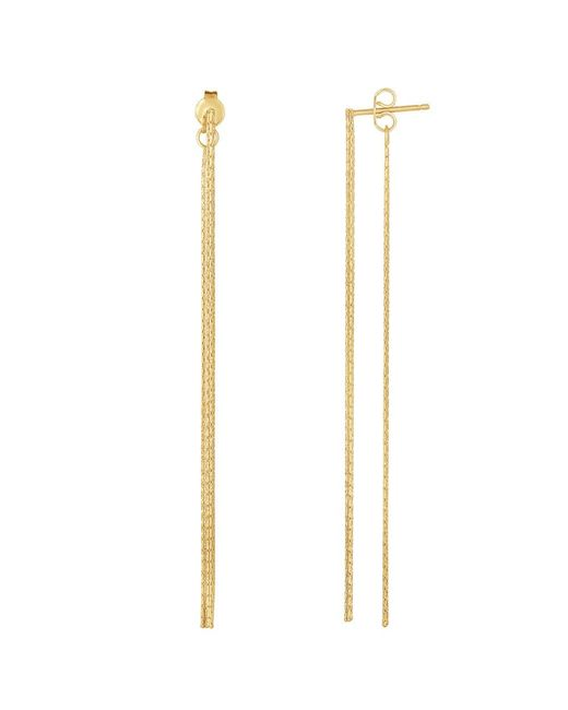 JewelryAffairs - 14k Yellow Gold Diamond Cut Multi Stranded Chain Front And Back Style Drop Earrings - Lyst