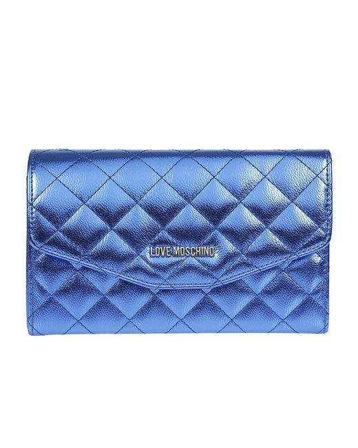 Love Moschino - Women's Blue Leather Clutch - Lyst