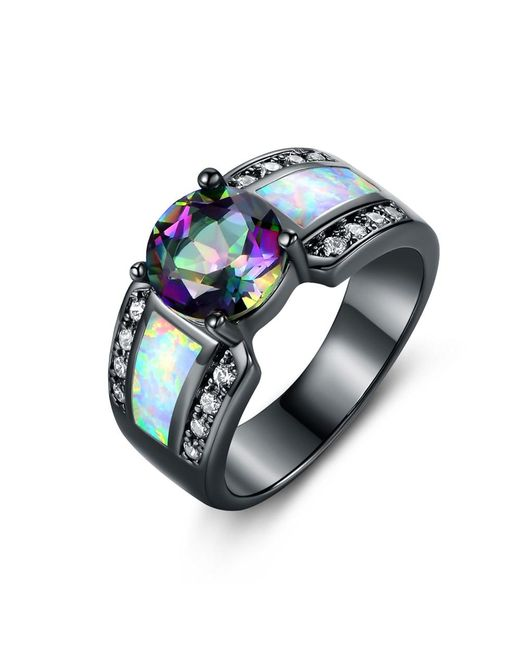 Peermont - Metallic Black Rhodium Plated 2cttw Round-cut Topaz & White Fire Opal Engagement Ring - Lyst