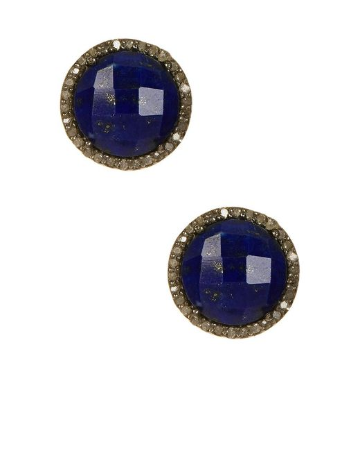 Adornia | Blue Lapis And Champagne Diamond Echo Stud Earrings | Lyst