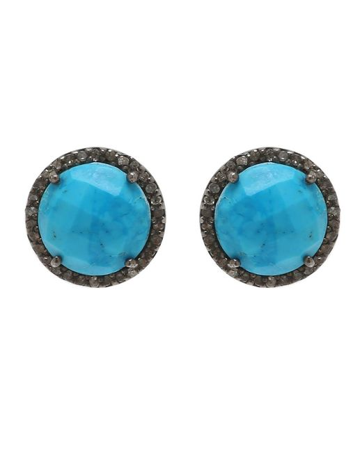 Adornia   Blue Turquoise And Champagne Diamond Echo Earrings   Lyst
