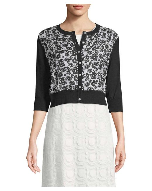 Karl Lagerfeld - Black Floral-applique Cropped Cardigan - Lyst