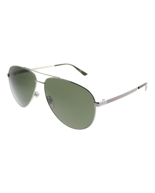 Gucci - Green Gg0137s 003 Ruthenium Aviator Sunglasses for Men - Lyst