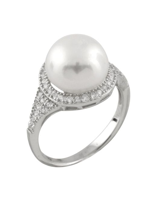 Splendid - White Micropave Cz Halo Freshwater Pearl Ring - Lyst