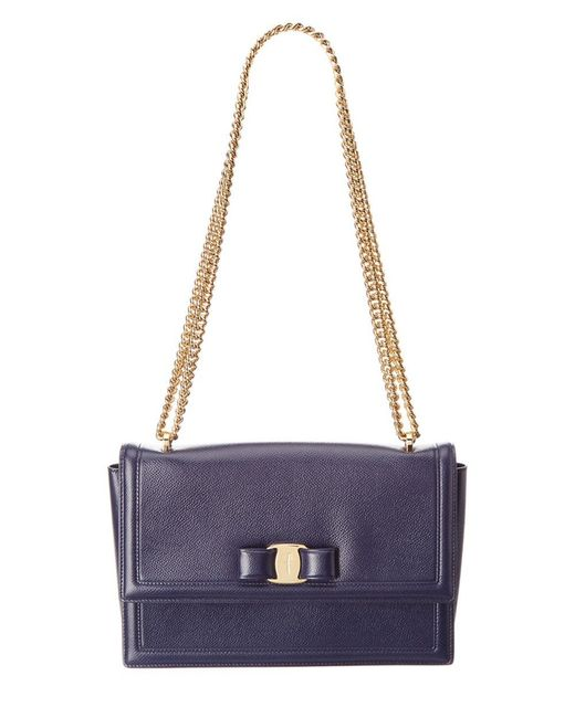 Ferragamo - Metallic Ginny Vara Leather Flap Bag - Lyst