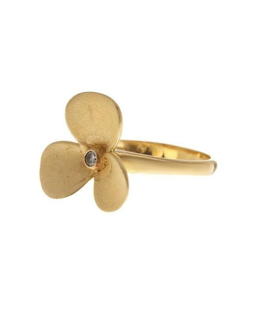 Adornia - Delia Flower Ring Yellow Gold Plated Silver With Swarovski Crystal - Lyst