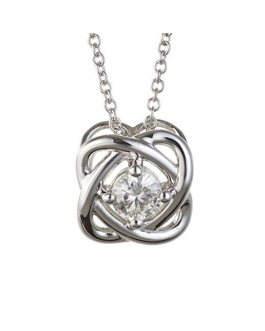 Charles & Colvard - Metallic Forever Classic Round 4.5mm Moissanite Knot Pendant Necklace, 0.33ct Dew - Lyst