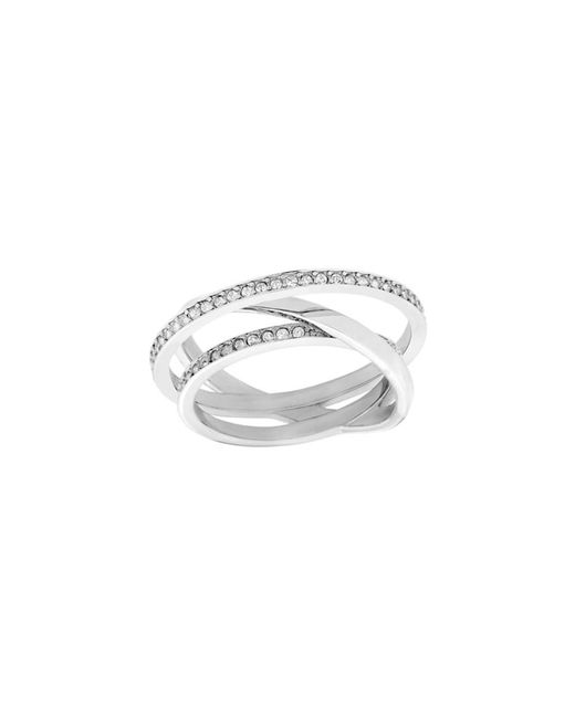 Swarovski - Metallic Crystal Plated Spiral Mini Ring - Lyst