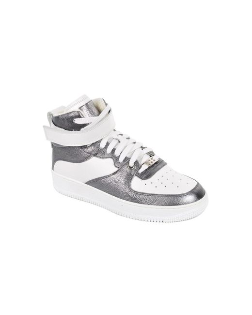 cbe012bbea83fe RED Valentino - White Silver Metallic Glam Glam High Top Sneakers - Lyst ...