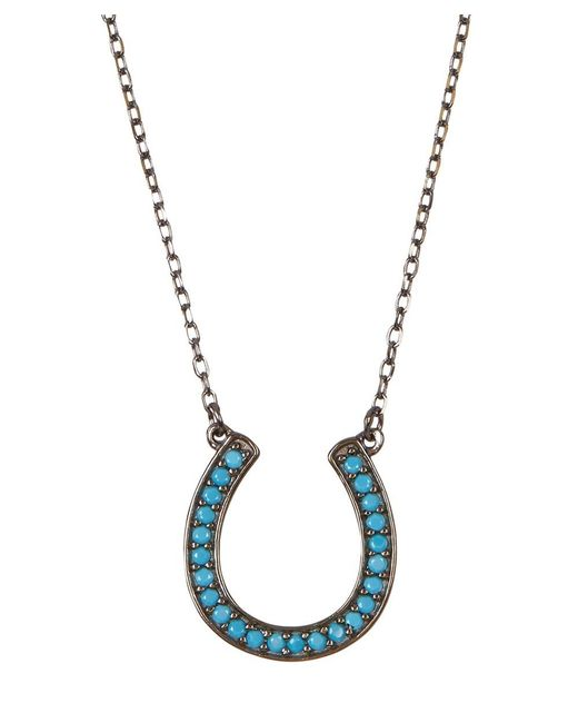 Adornia | Blue Turquoise And Sterling Silver Horseshoe Necklace | Lyst
