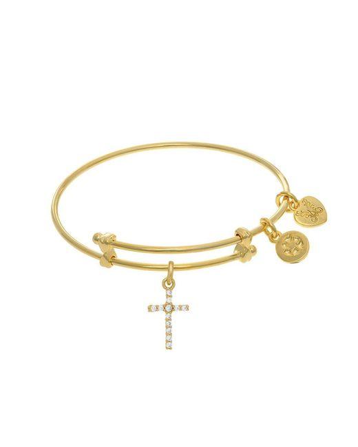 Angelica - Yellow Cross Charm Expandable Tween Bangle Bracelet - Lyst