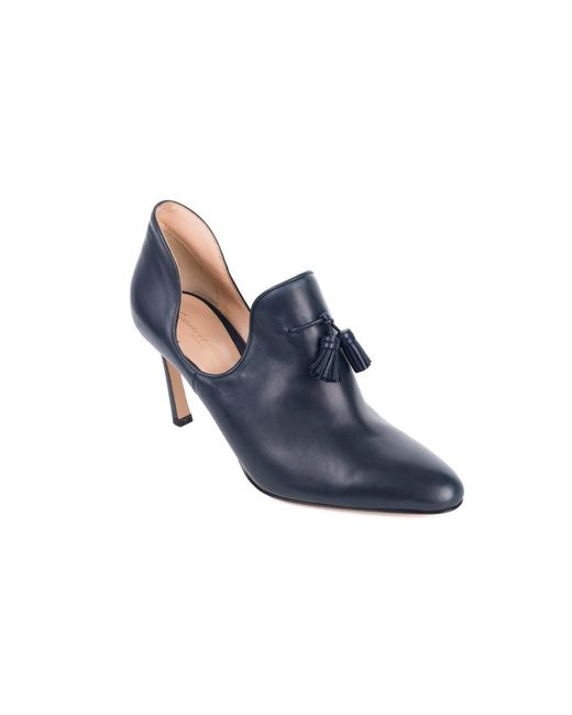 Gianvito Rossi - Blue Dark Navy Leather Cut-out Vamp Tasseled Pumps - Lyst