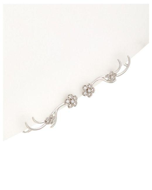 Noir Jewelry | Multicolor Silver Twist Cz Flower Ear Cuff | Lyst