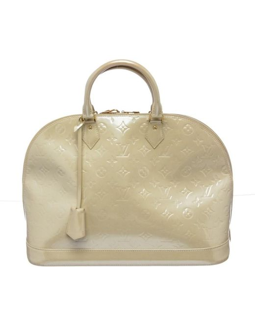 Louis Vuitton - White Pre Owned - Ivory Vernis Monogram Alma Gm Handbag - Lyst