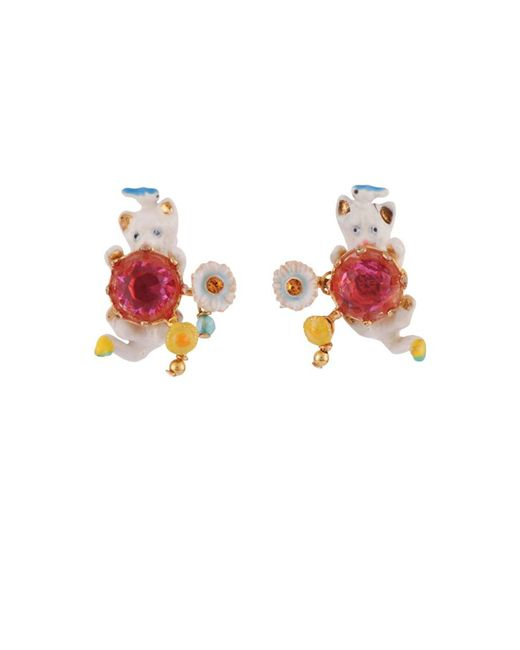 Les Nereides | White Little Cats Whith Bird And Faceted Glass Clip Earrings | Lyst