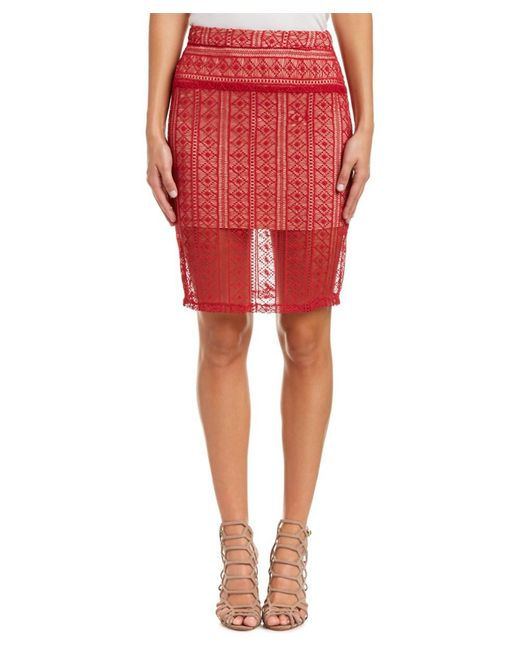 English Factory | Red Lace Pencil Skirt | Lyst