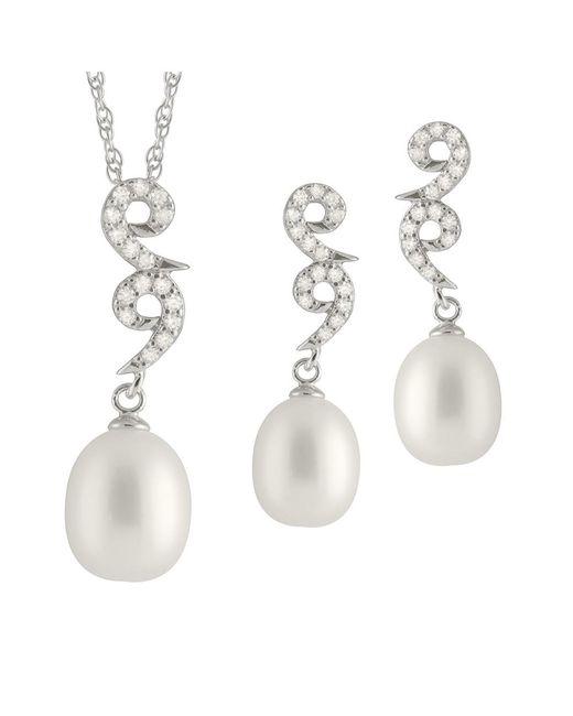 Splendid | Metallic Fancy Dangling Cz Pearl Set | Lyst