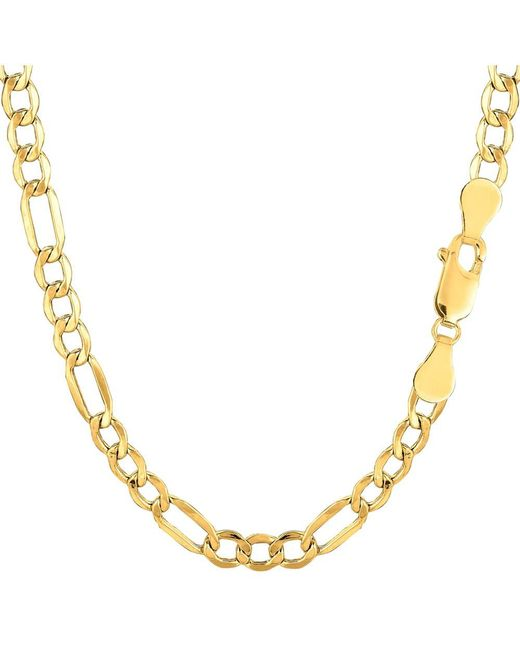 JewelryAffairs - 10k Yellow Gold Hollow Figaro Bracelet Chain, 4.6mm, 7 - Lyst