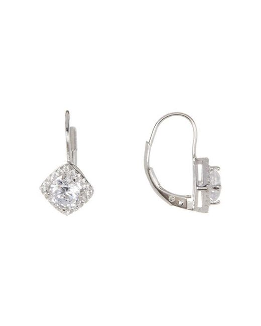 Adornia - Metallic Sterling Silver And Swarovski Crystal Diamond Shaped Huggie Halo Earrings - Lyst