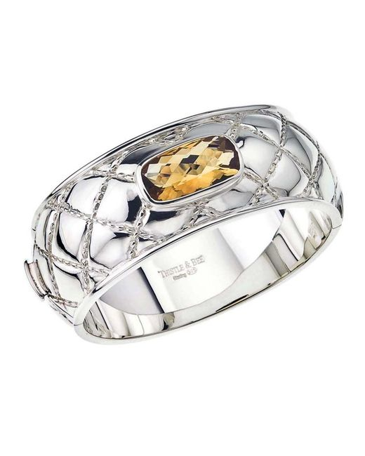 Jewelista | Yellow Sterling Silver & Citrine Quilted Bangle | Lyst