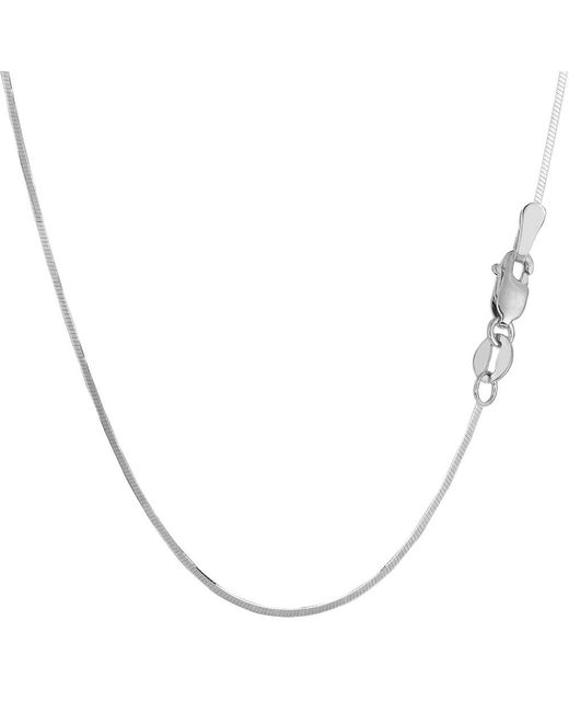 JewelryAffairs - White Sterling Silver Rhodium Plated Octagonal Snake Chain Necklace, 1.3mm, 16 - Lyst