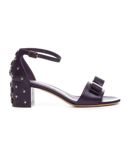 Ferragamo | Women's Purple Leather Sandals | Lyst
