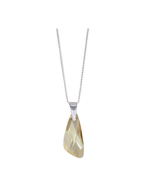 Barzel - Metallic Genuine Swarovski Wing Golden Shade Crystal Pendnat In Sterling Silver Chain Necklace - Lyst