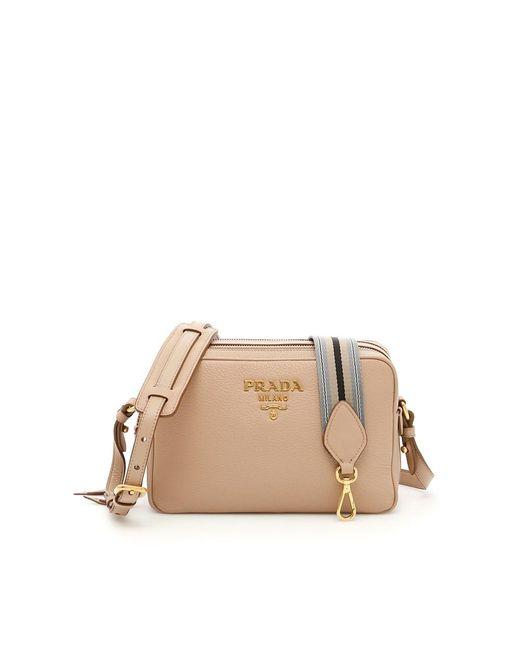 Prada - Brown Women's Beige Leather Shoulder Bag - Lyst
