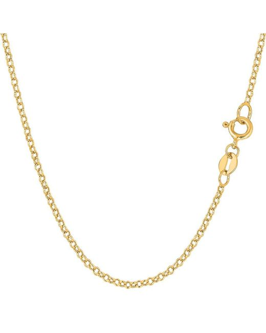 JewelryAffairs - 14k Yellow Gold Round Rolo Link Chain Necklace, 1.85mm, 16 Inch - Lyst