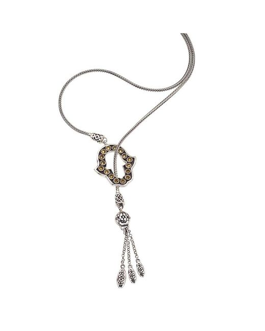 Jewelista - Yellow Oxidized Silver & Citrine Hamsa Lariat Necklace - Lyst