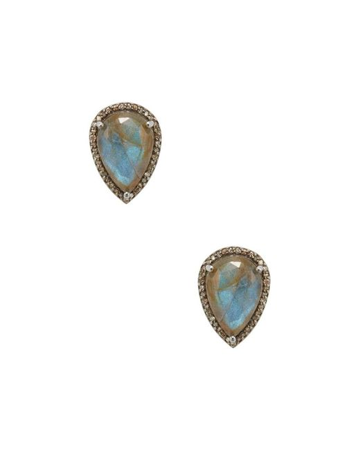 Adornia - Gray Labradorite And Champagne Diamond Moore Pear Shaped Studs - Lyst