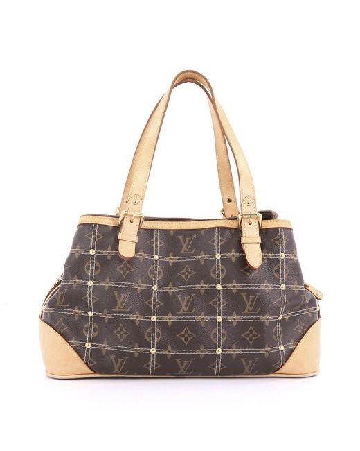 93e94ad02fd0 ... Louis Vuitton - Brown Pre Owned Riveting Handbag Monogram Canvas - Lyst  ...