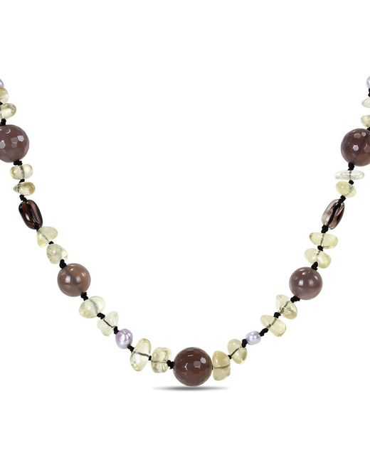 Catherine Malandrino - Brown Freshwater Cultured Pearl And Gemstone Necklace - Lyst