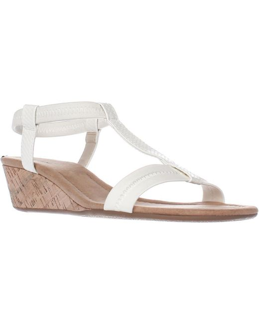 Alfani - A35 Voyage T Strap Wedge Sandals, White - Lyst