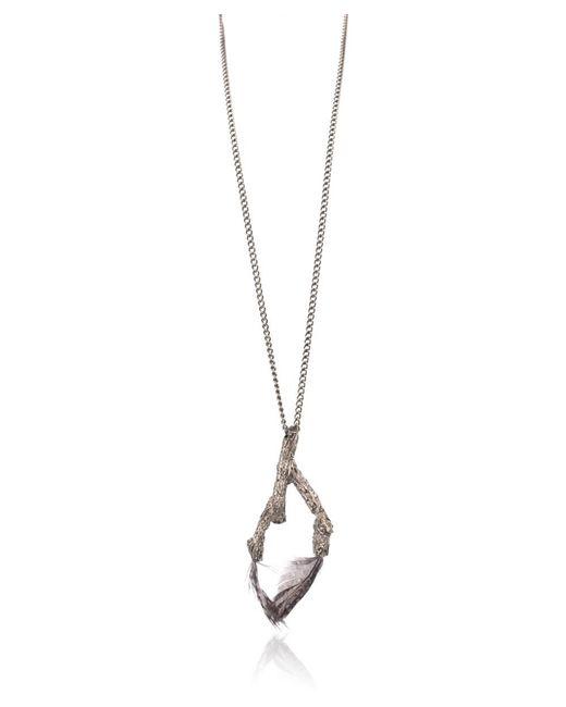 Roberto Cavalli - Metallic Gunmetal Feather Inserted Branch Pendant Necklace - Lyst