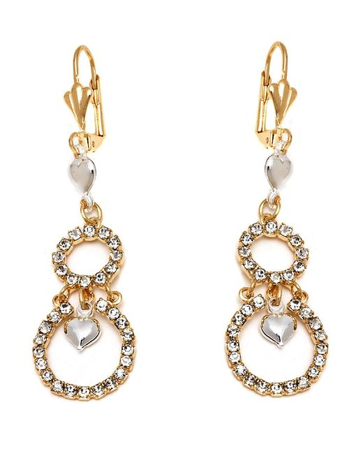Peermont - Metallic Gold And Silver Crystal Heart And Double Circle Earrings - Lyst
