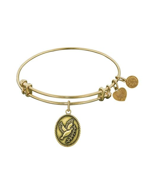 Angelica - Yellow Smooth Finish Brass Dove With Olive Branch Peace Bangle Bracelet, 7.25 - Lyst