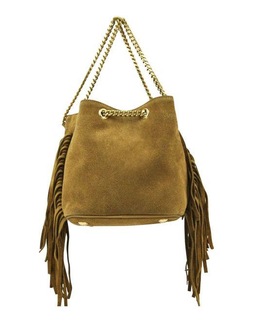 Saint Laurent - Green Emmanuelle Brown Suede Fringe Bucket Bag 434594 7735 - Lyst