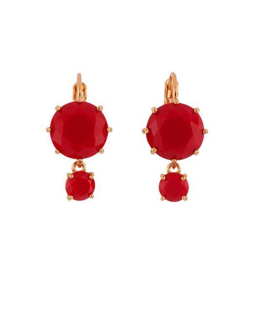 Les Nereides | La Diamantine 2 Vermilion Red Round Little Stones Earrings | Lyst