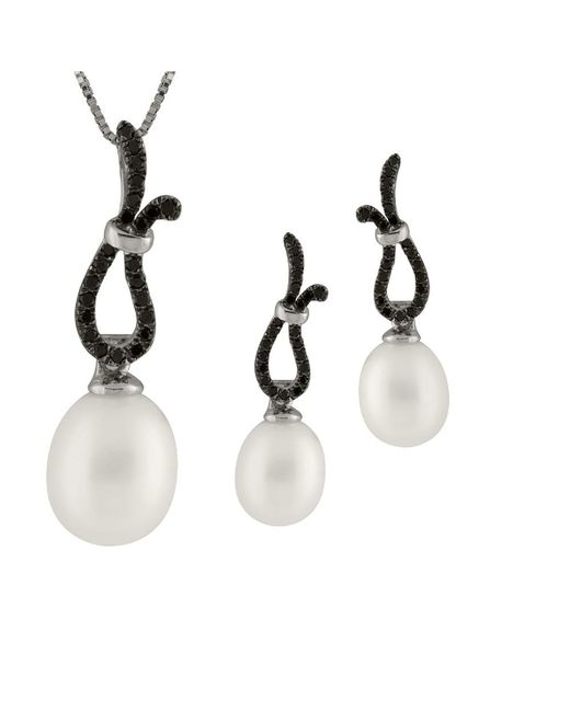 Splendid | Metallic Black Cz Pearl Pendant And Earring Set | Lyst