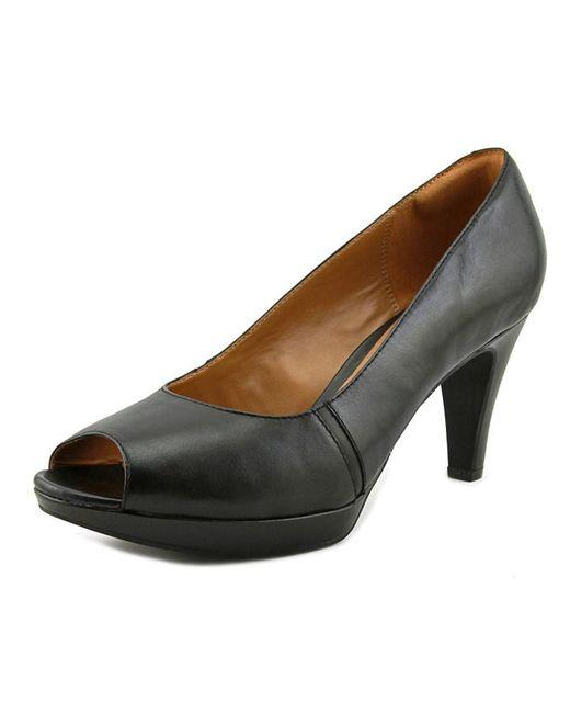 Clarks | Black Narine Rowe Women Peep-toe Leather Heels | Lyst