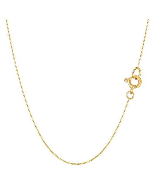 JewelryAffairs - 14k Yellow Gold Classic Mirror Box Chain Necklace, 0.45mm, 18 Inch - Lyst