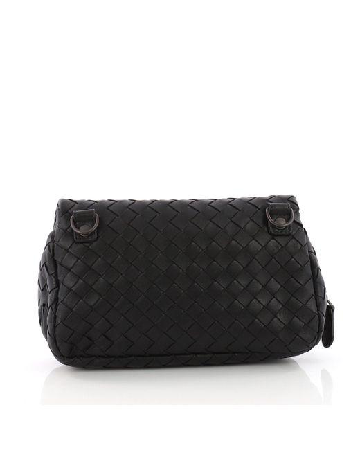 623ca42390 ... Bottega Veneta - Black Pre Owned Expandable Chain Crossbody Bag  Intrecciato Nappa Small - Lyst ...