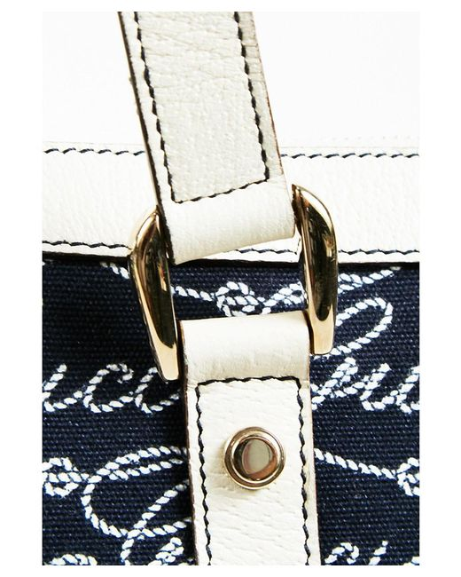 6a7010412c6 ... Gucci - 1 Blue   Cream Canvas   Leather Top Handle Logo Rope Script
