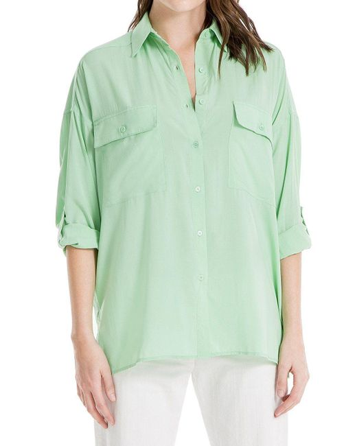Max Studio - Green Roll-tab Sleeve Utility Shirt - Lyst